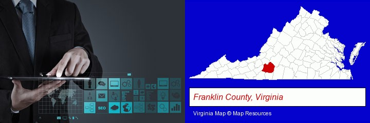 information technology concepts; Franklin County, Virginia highlighted in red on a map