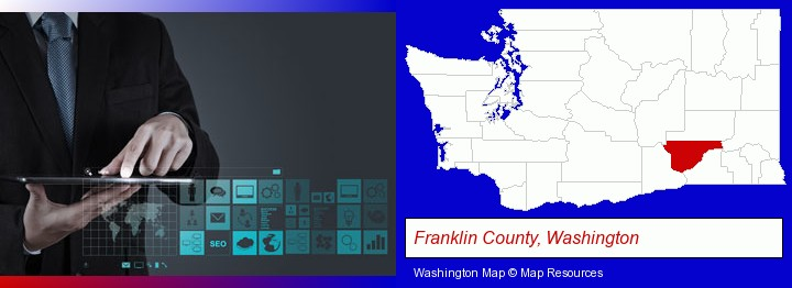 information technology concepts; Franklin County, Washington highlighted in red on a map