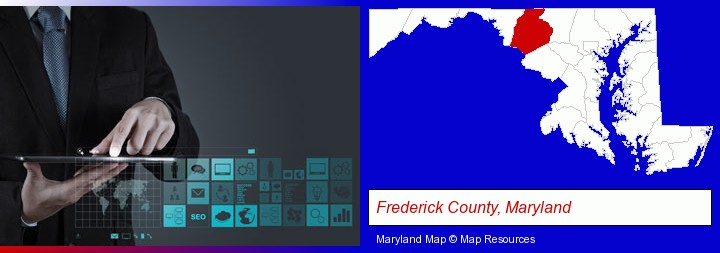 information technology concepts; Frederick County, Maryland highlighted in red on a map