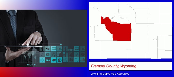 information technology concepts; Fremont County, Wyoming highlighted in red on a map