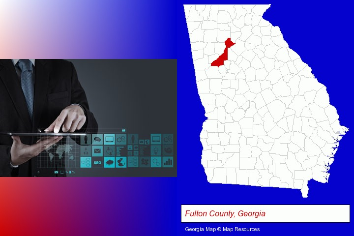 information technology concepts; Fulton County, Georgia highlighted in red on a map