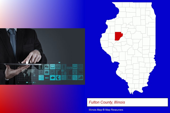 information technology concepts; Fulton County, Illinois highlighted in red on a map