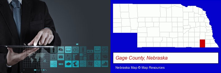information technology concepts; Gage County, Nebraska highlighted in red on a map