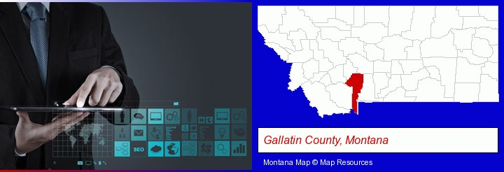 information technology concepts; Gallatin County, Montana highlighted in red on a map
