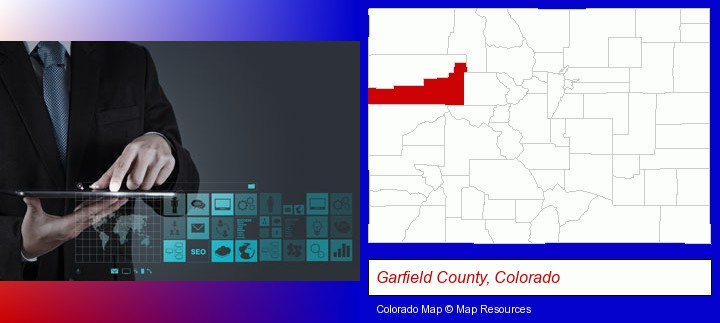 information technology concepts; Garfield County, Colorado highlighted in red on a map
