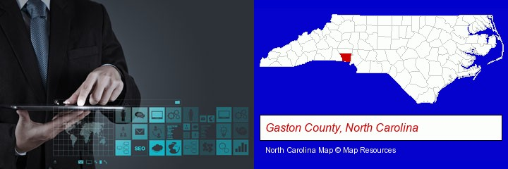 information technology concepts; Gaston County, North Carolina highlighted in red on a map