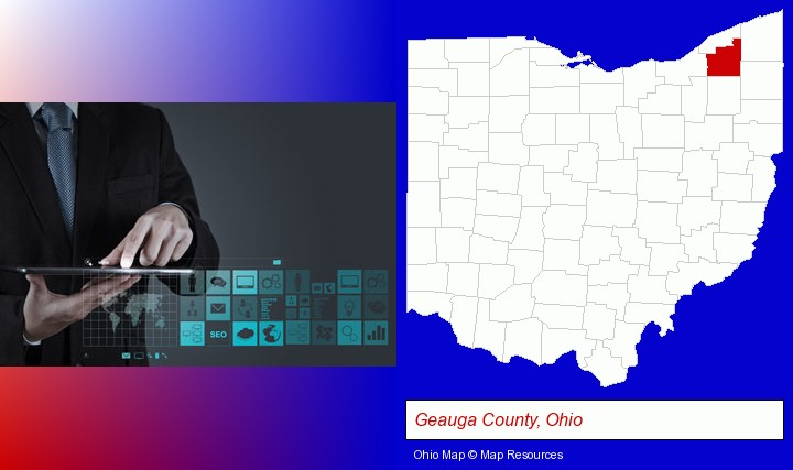information technology concepts; Geauga County, Ohio highlighted in red on a map