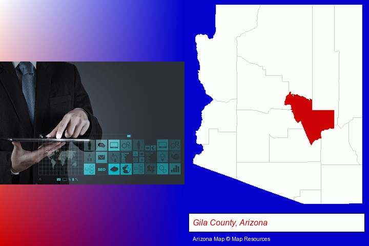 information technology concepts; Gila County, Arizona highlighted in red on a map