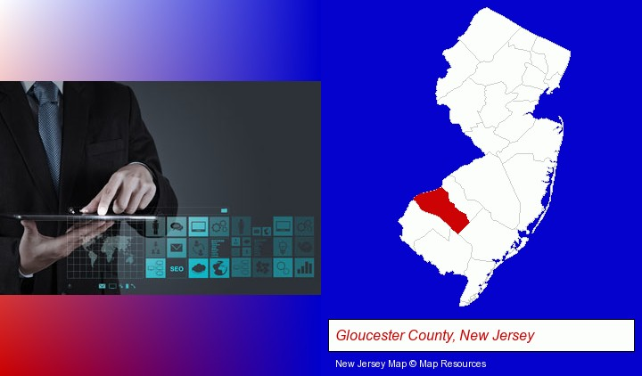 information technology concepts; Gloucester County, New Jersey highlighted in red on a map