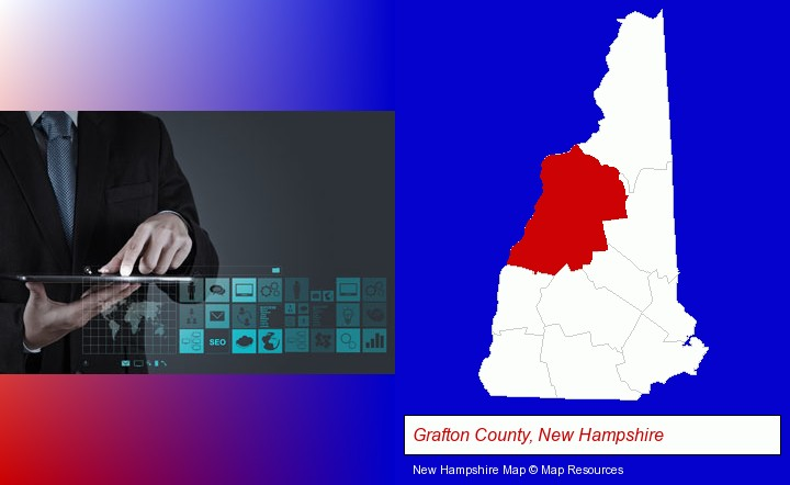 information technology concepts; Grafton County, New Hampshire highlighted in red on a map