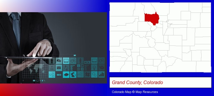 information technology concepts; Grand County, Colorado highlighted in red on a map