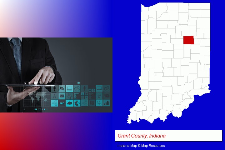 information technology concepts; Grant County, Indiana highlighted in red on a map