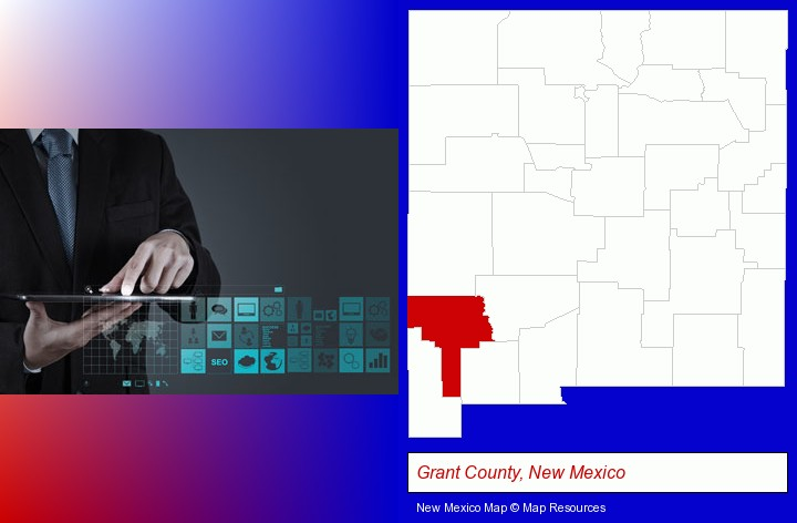 information technology concepts; Grant County, New Mexico highlighted in red on a map