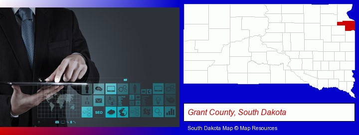 information technology concepts; Grant County, South Dakota highlighted in red on a map