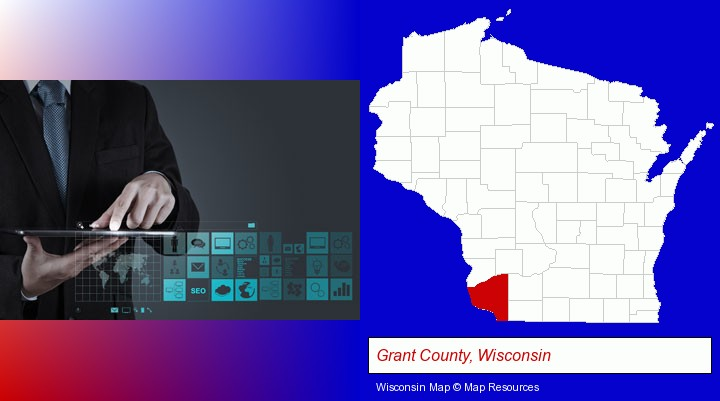 information technology concepts; Grant County, Wisconsin highlighted in red on a map