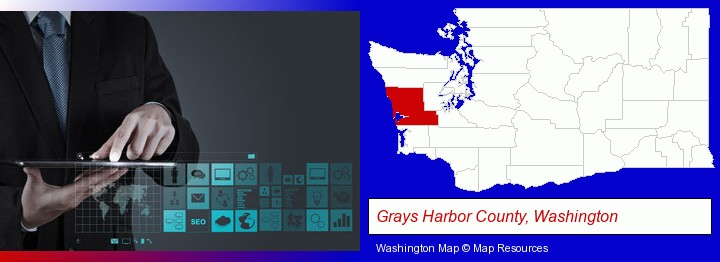 information technology concepts; Grays Harbor County, Washington highlighted in red on a map
