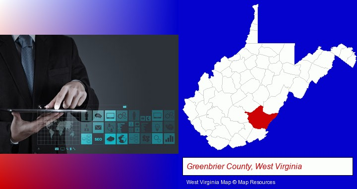 information technology concepts; Greenbrier County, West Virginia highlighted in red on a map
