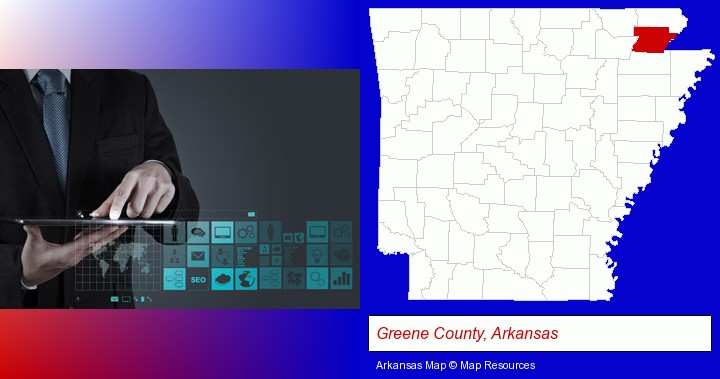 information technology concepts; Greene County, Arkansas highlighted in red on a map