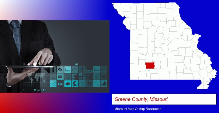 information technology concepts; Greene County, Missouri highlighted in red on a map