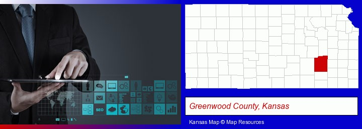 information technology concepts; Greenwood County, Kansas highlighted in red on a map