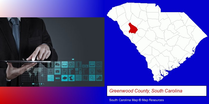 information technology concepts; Greenwood County, South Carolina highlighted in red on a map
