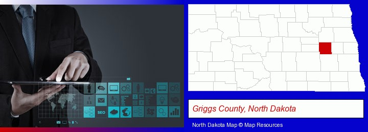 information technology concepts; Griggs County, North Dakota highlighted in red on a map