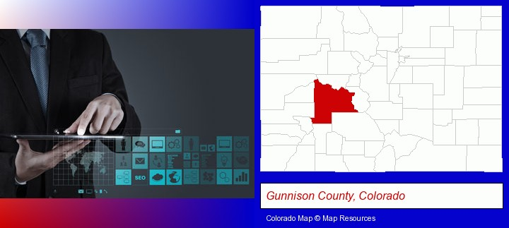 information technology concepts; Gunnison County, Colorado highlighted in red on a map