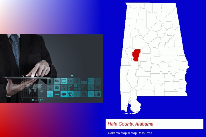 information technology concepts; Hale County, Alabama highlighted in red on a map