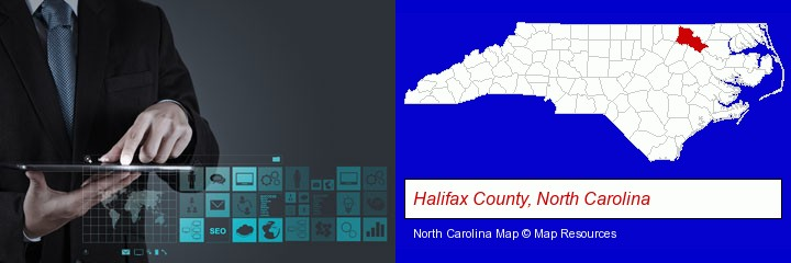 information technology concepts; Halifax County, North Carolina highlighted in red on a map