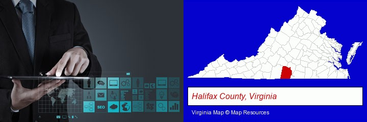 information technology concepts; Halifax County, Virginia highlighted in red on a map
