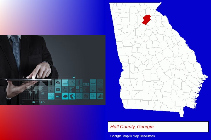 information technology concepts; Hall County, Georgia highlighted in red on a map