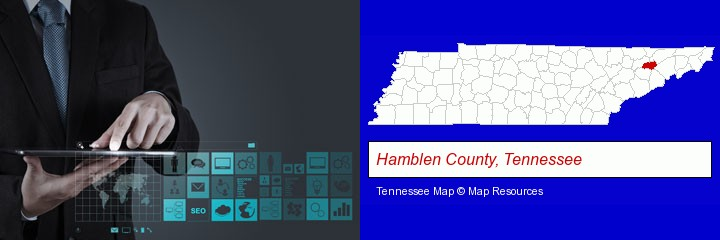 information technology concepts; Hamblen County, Tennessee highlighted in red on a map