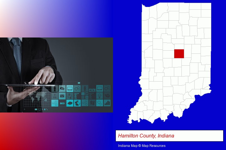 information technology concepts; Hamilton County, Indiana highlighted in red on a map