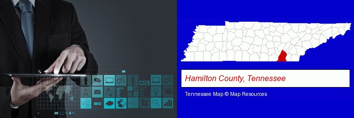 information technology concepts; Hamilton County, Tennessee highlighted in red on a map
