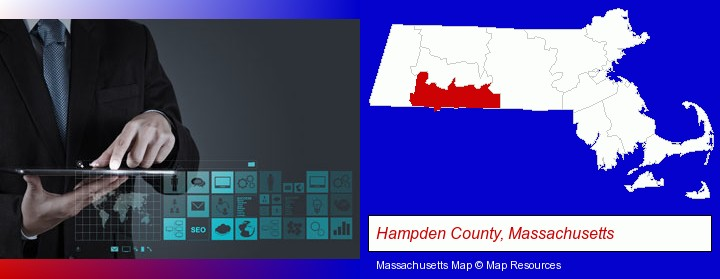information technology concepts; Hampden County, Massachusetts highlighted in red on a map