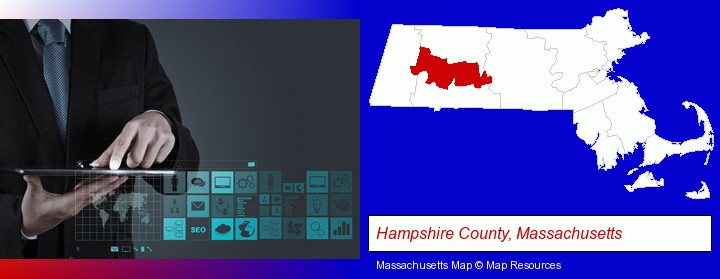 information technology concepts; Hampshire County, Massachusetts highlighted in red on a map