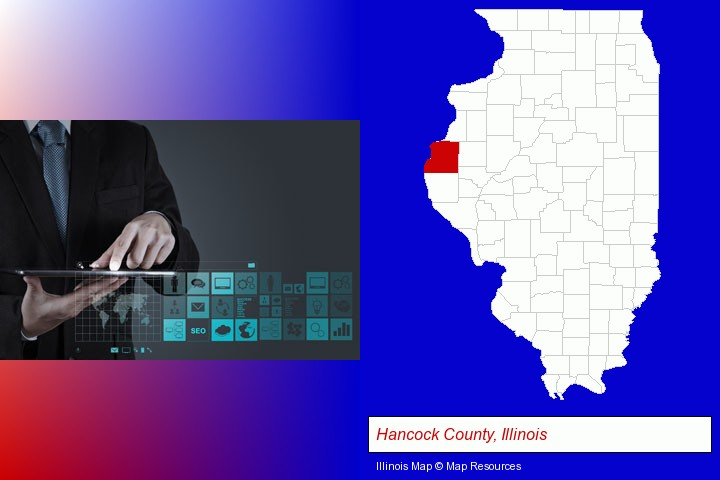 information technology concepts; Hancock County, Illinois highlighted in red on a map