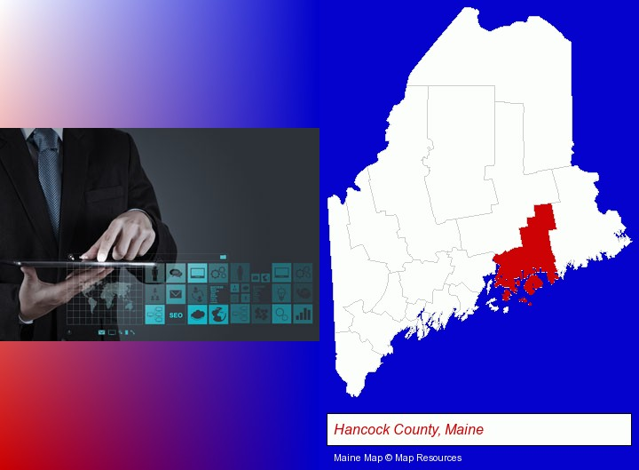 information technology concepts; Hancock County, Maine highlighted in red on a map