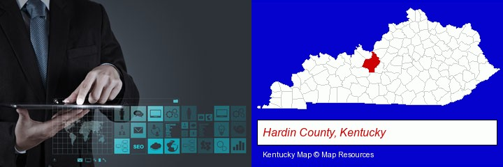 information technology concepts; Hardin County, Kentucky highlighted in red on a map