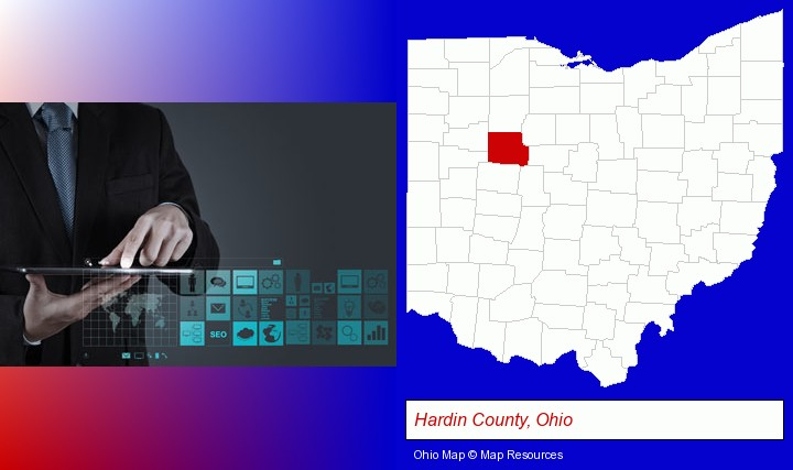information technology concepts; Hardin County, Ohio highlighted in red on a map