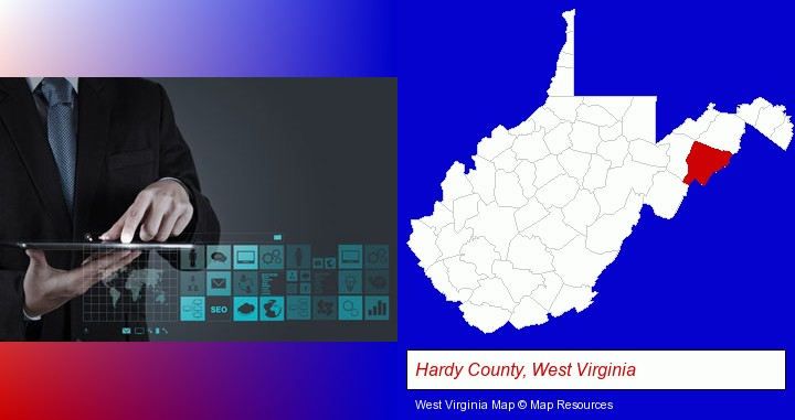 information technology concepts; Hardy County, West Virginia highlighted in red on a map