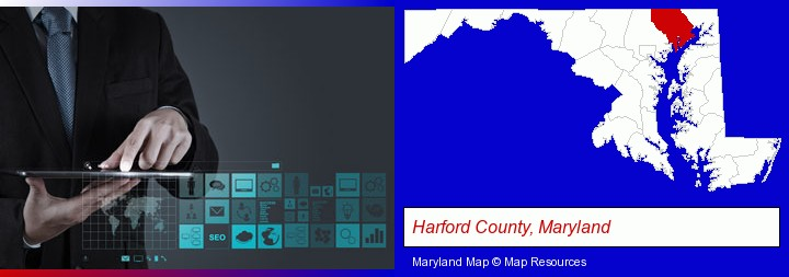 information technology concepts; Harford County, Maryland highlighted in red on a map