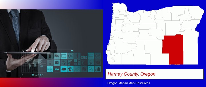 information technology concepts; Harney County, Oregon highlighted in red on a map