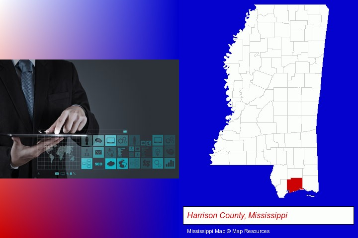 information technology concepts; Harrison County, Mississippi highlighted in red on a map