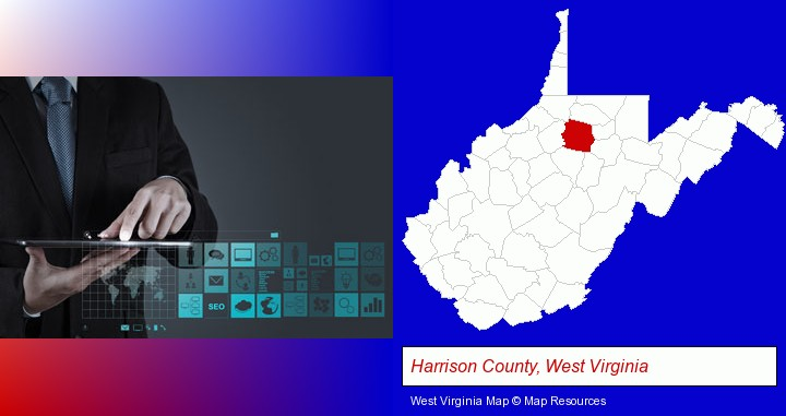 information technology concepts; Harrison County, West Virginia highlighted in red on a map