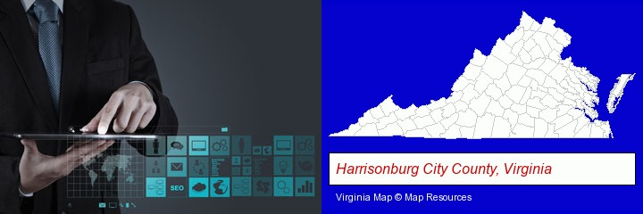 information technology concepts; Harrisonburg City County, Virginia highlighted in red on a map