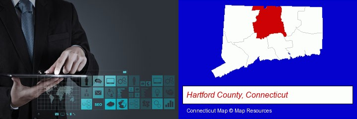information technology concepts; Hartford County, Connecticut highlighted in red on a map