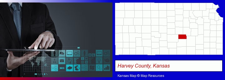 information technology concepts; Harvey County, Kansas highlighted in red on a map