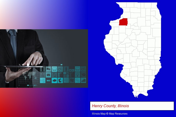 information technology concepts; Henry County, Illinois highlighted in red on a map
