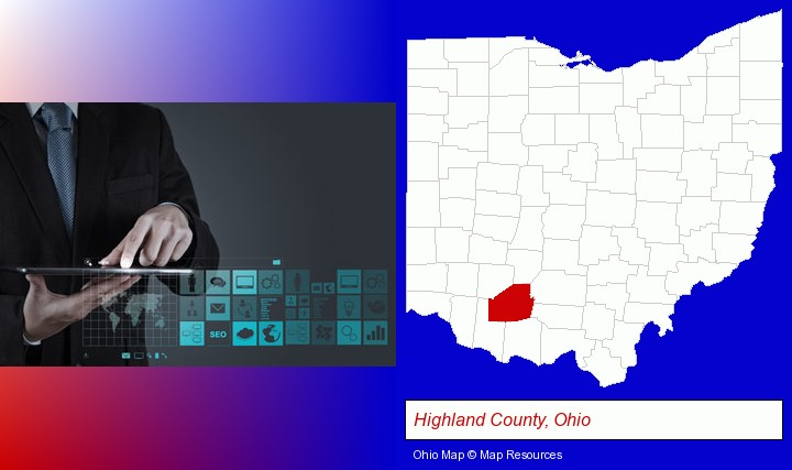 information technology concepts; Highland County, Ohio highlighted in red on a map